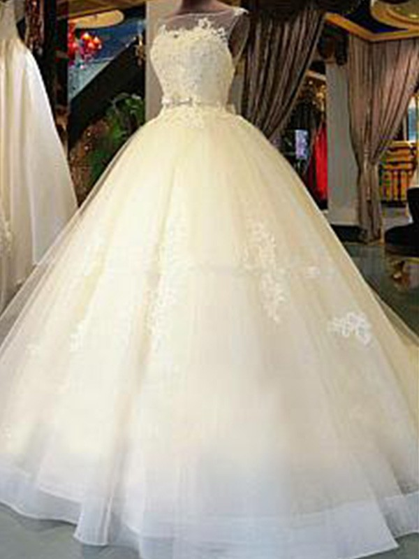 White Tulle Scoop Ball Gown Cathedral Train Wedding Dresses