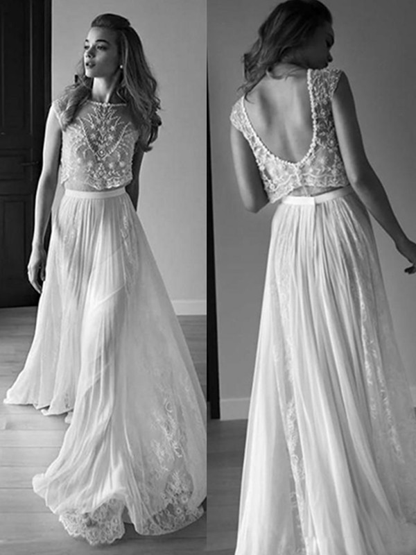 White Tulle Scoop A-Line/Princess Sweep/Brush Train Wedding Dresses