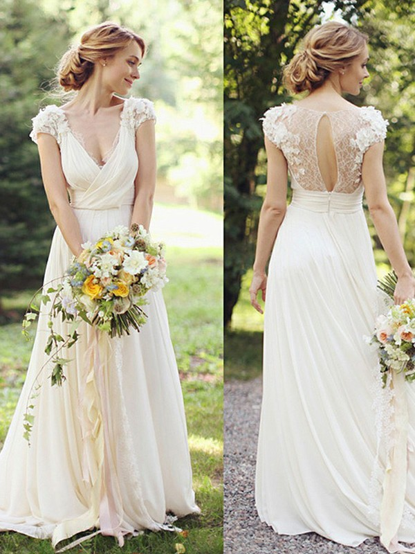 Ivory Chiffon V-neck A-Line/Princess Sweep/Brush Train Wedding Dresses