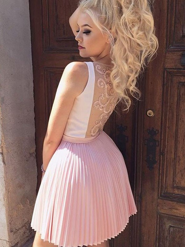 Pearl Pink Satin V-neck A-Line/Princess Short/Mini Dresses