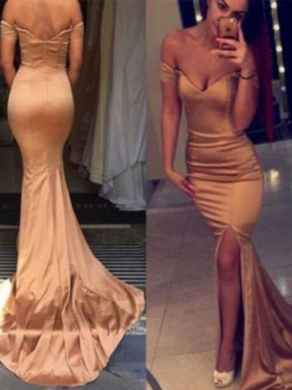 Champagne Satin Off-the-Shoulder Trumpet/Mermaid Court Train Dresses