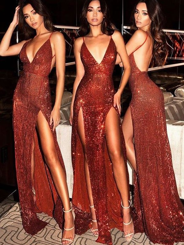 Burgundy Sequins V-neck Sheath/Column Sweep/Brush Train Dresses