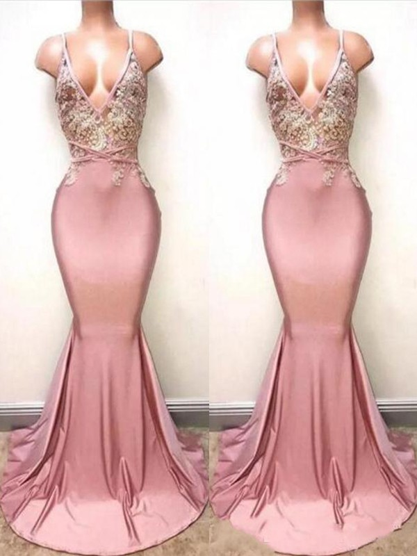 Pink Satin V-neck Trumpet/Mermaid Sweep/Brush Train Dresses