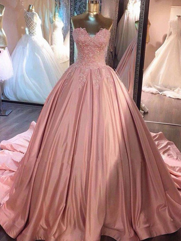 Pink Satin Sweetheart Ball Gown Court Train Dresses