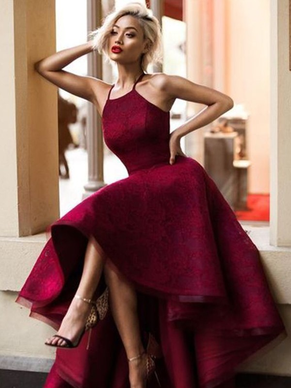 Burgundy Lace Jewel A-Line/Princess Asymmetrical Dresses