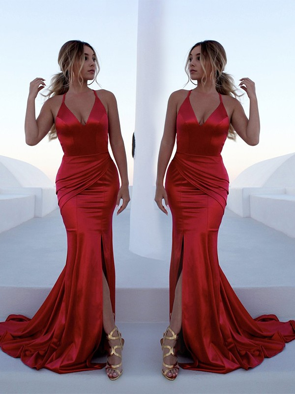Red Satin Halter Trumpet/Mermaid Sweep/Brush Train Dresses