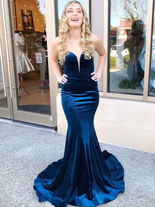 Royal Blue Velvet Sweetheart Trumpet/Mermaid Sweep/Brush Train Dresses