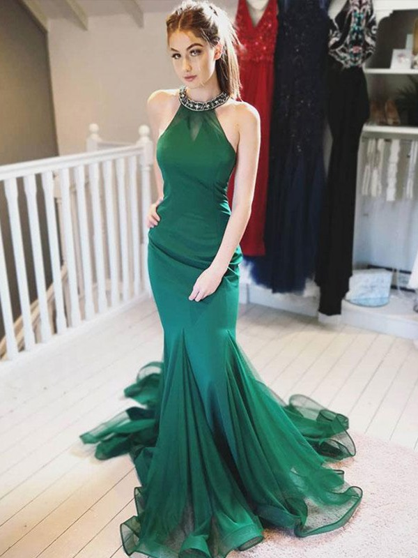 Dark Green Organza Halter Trumpet/Mermaid Sweep/Brush Train Dresses