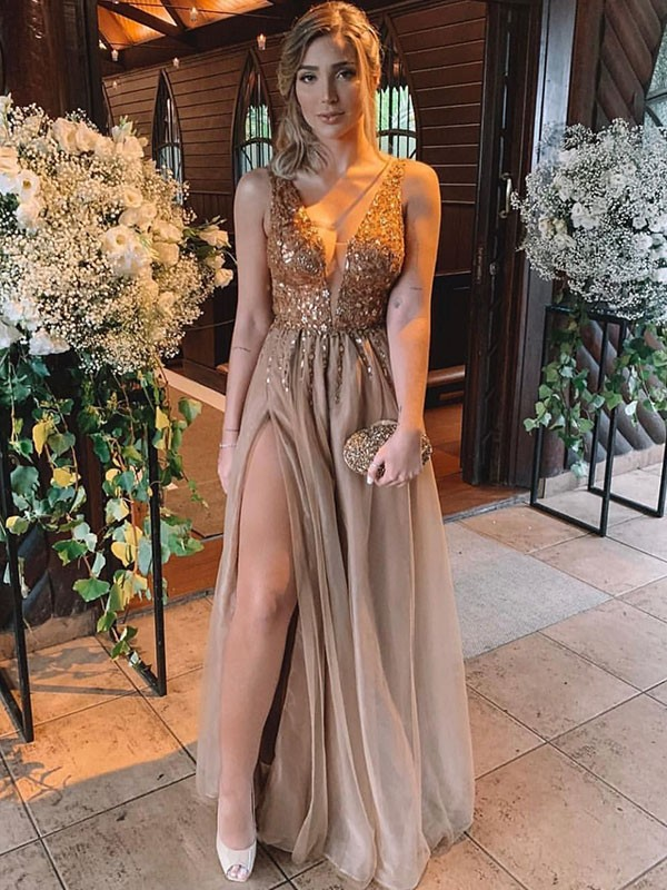 Brown Tulle V-neck A-Line/Princess Floor-Length Dresses