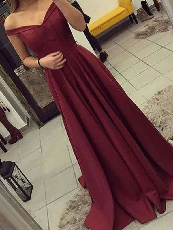 Burgundy Satin Off-the-Shoulder A-Line/Princess Sweep/Brush Train Dresses