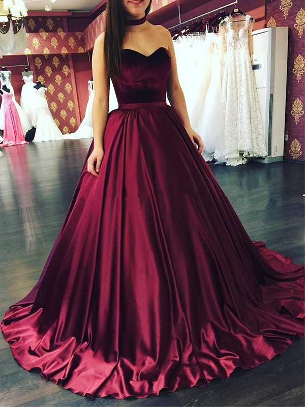 Burgundy Satin Sweetheart Ball Gown Sweep/Brush Train Dresses
