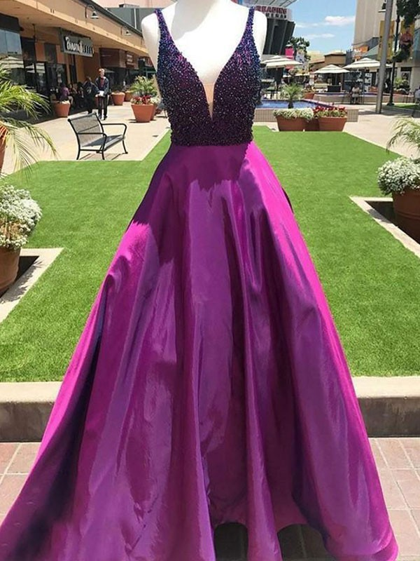 Fuchsia Satin V-neck A-Line/Princess Floor-Length Dresses