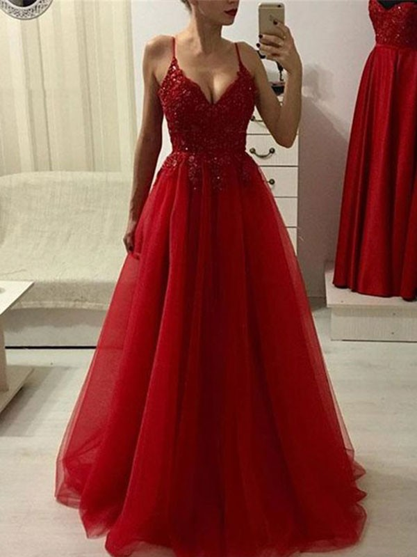 Red Tulle Spaghetti Straps A-Line/Princess Floor-Length Dresses