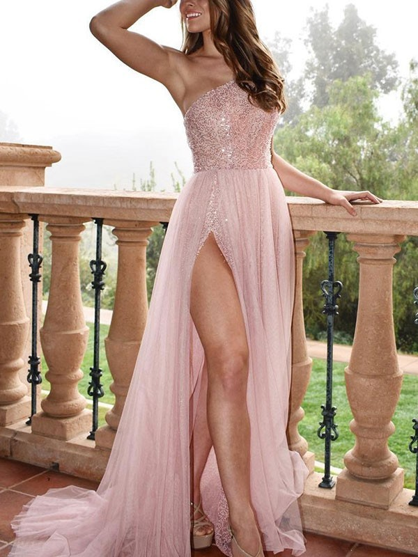 Pearl Pink Tulle One-Shoulder A-Line/Princess Sweep/Brush Train Dresses
