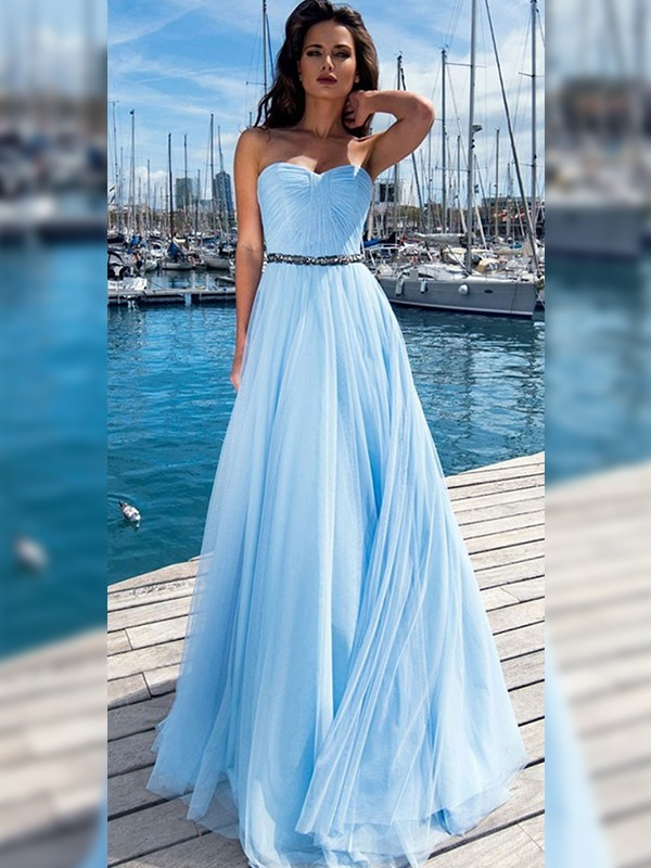 Light Sky Blue Sequins Sweetheart A-Line/Princess Floor-Length Dresses