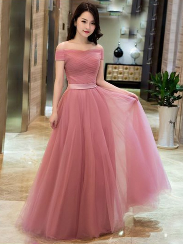 Watermelon Tulle Off-the-Shoulder A-Line/Princess Floor-Length Dresses