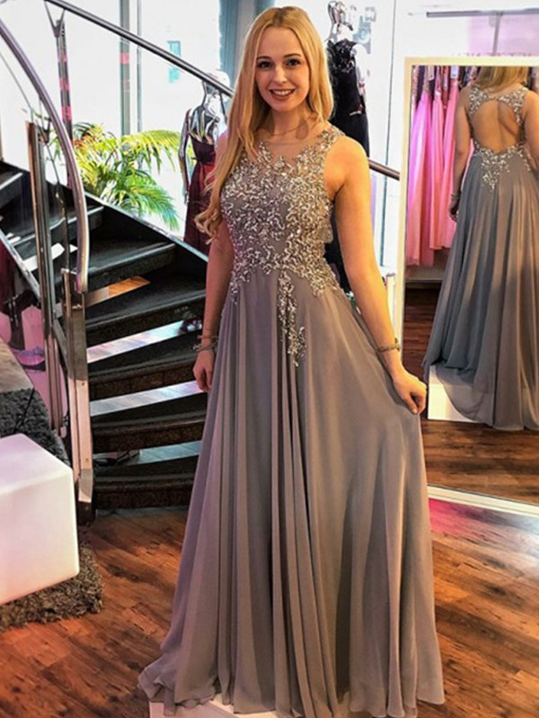 Grey Chiffon Scoop A-Line/Princess Sweep/Brush Train Dresses