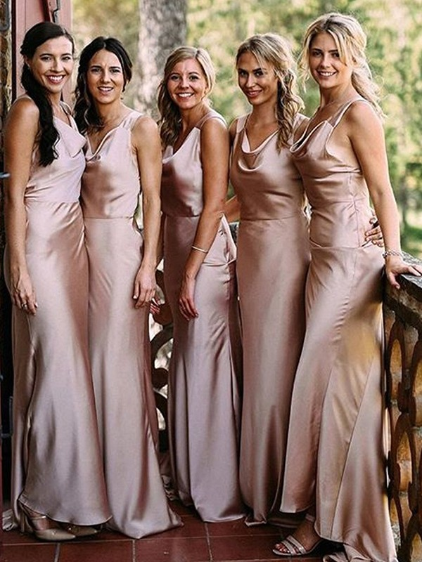 Pearl Pink Silk like Satin V-neck Sheath/Column Floor-Length Bridesmaid Dresses