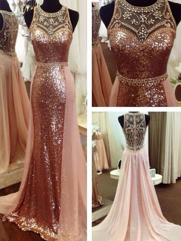 Pink Sequins Scoop A-Line/Princess Sweep/Brush Train Dresses