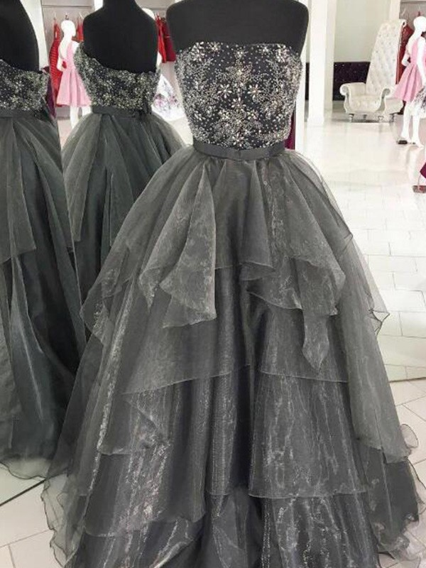 Grey Organza Strapless Ball Gown Floor-Length Dresses