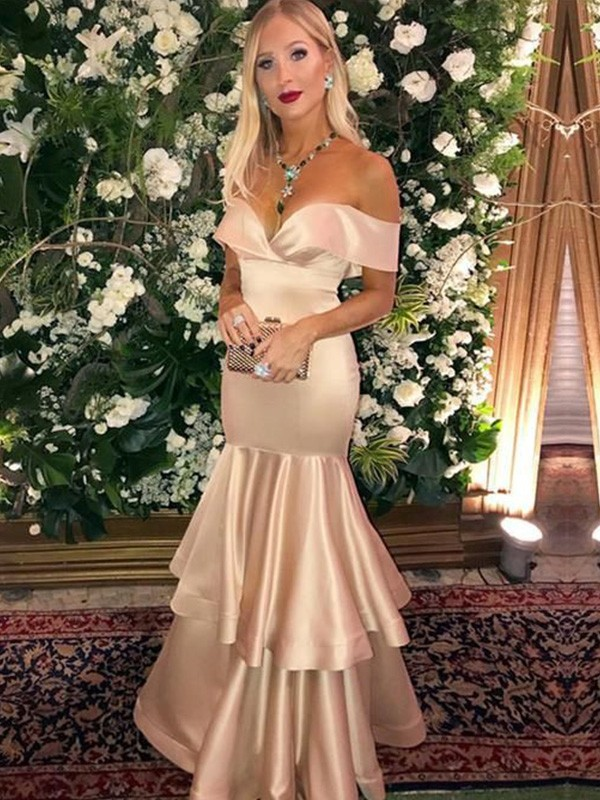 Champagne Satin Off-the-Shoulder Trumpet/Mermaid Floor-Length Dresses