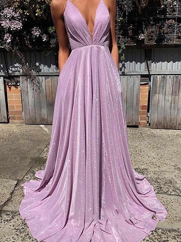 Lilac Satin V-neck A-Line/Princess Sweep/Brush Train Dresses