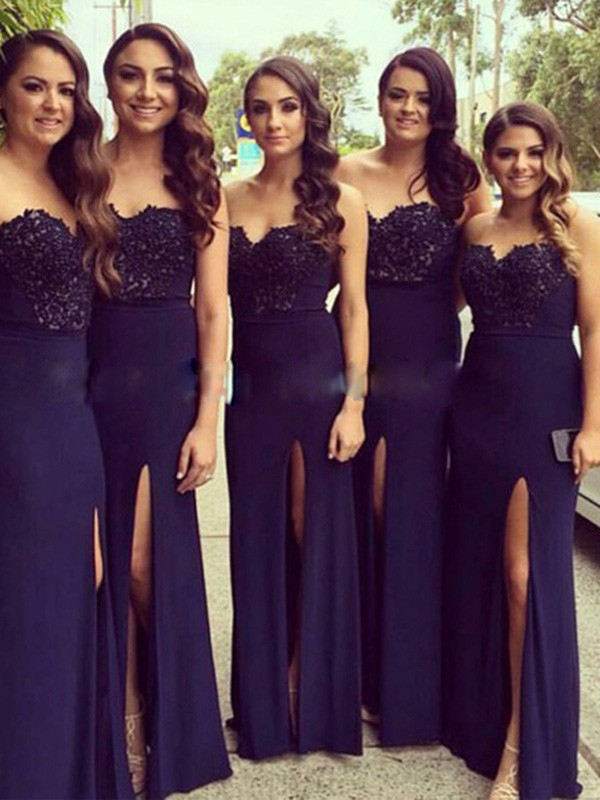 Dark Navy Spandex Sweetheart A-Line/Princess Floor-Length Bridesmaid Dresses