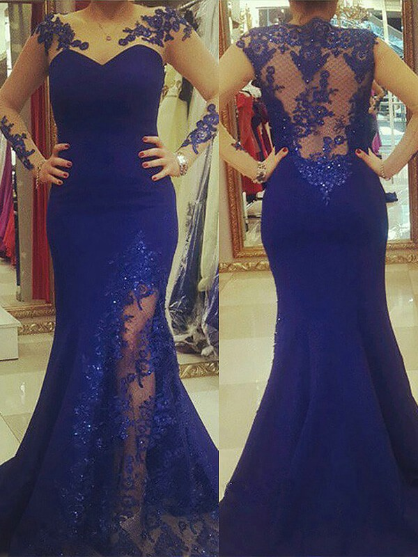 Royal Blue Silk like Satin Scoop Trumpet/Mermaid Sweep/Brush Train Plus Size Dresses