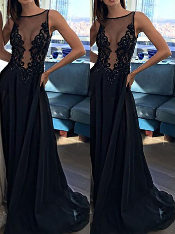 Black Chiffon Bateau A-Line/Princess Sweep/Brush Train Dresses