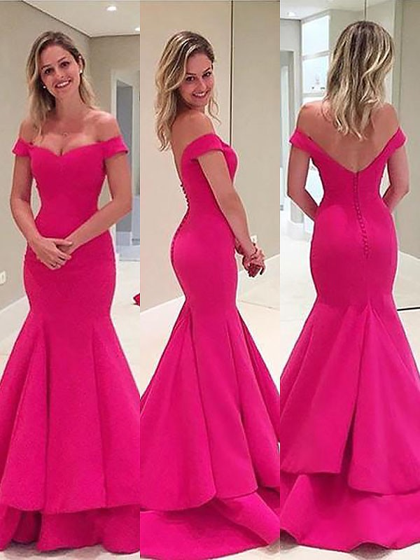 Fuchsia Satin Off-the-Shoulder Trumpet/Mermaid Sweep/Brush Train Dresses