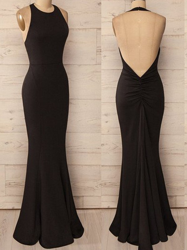 Black Spandex Halter Trumpet/Mermaid Floor-Length Dresses