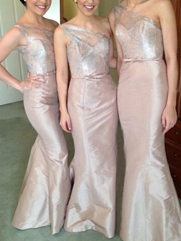 Pink Satin One-Shoulder Trumpet/Mermaid Floor-Length Bridesmaid Dresses