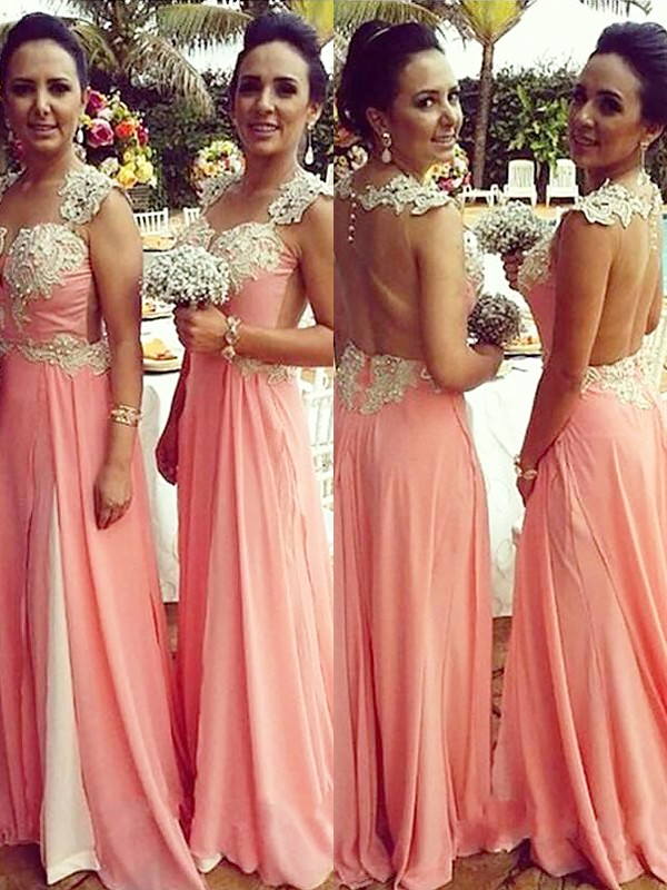 Pink Chiffon Straps A-Line/Princess Floor-Length Bridesmaid Dresses