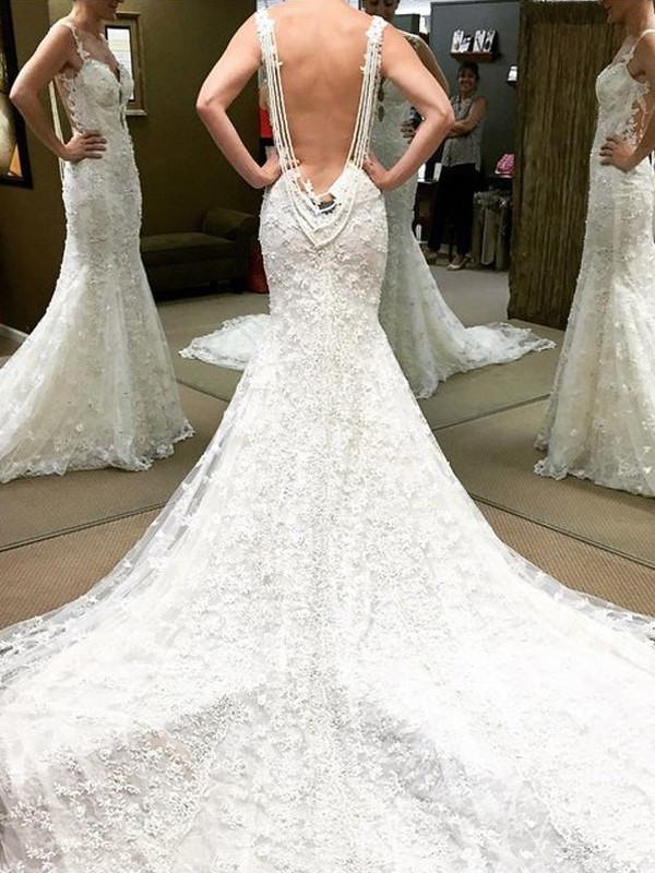 Ivory Lace Off-the-Shoulder Ball Gown Cathedral Train Wedding Dresses