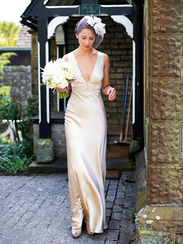 Ivory Satin V-neck Sheath/Column Sweep/Brush Train Wedding Dresses