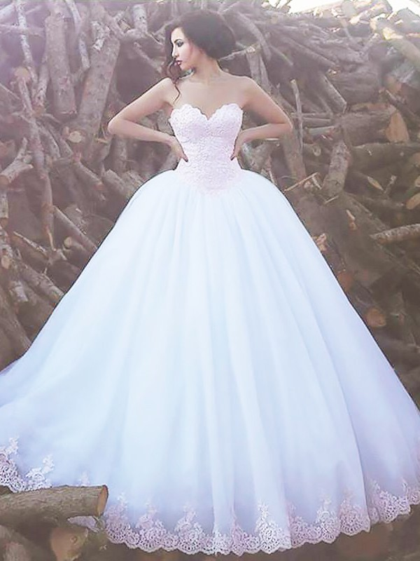 Ivory Organza Sweetheart Ball Gown Sweep/Brush Train Wedding Dresses