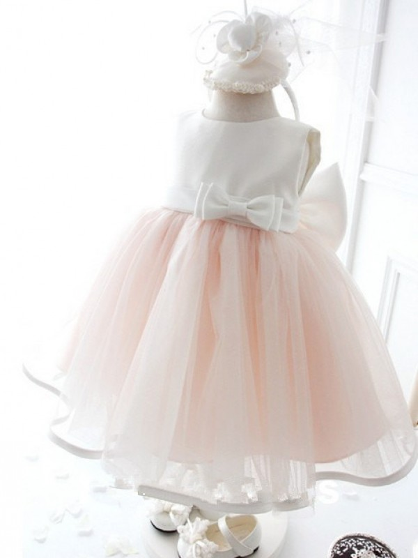 Pink Organza Jewel Ball Gown Floor-Length Flower Girl Dresses