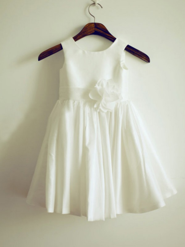 Ivory Taffeta Jewel A-Line/Princess Tea-Length Flower Girl Dresses