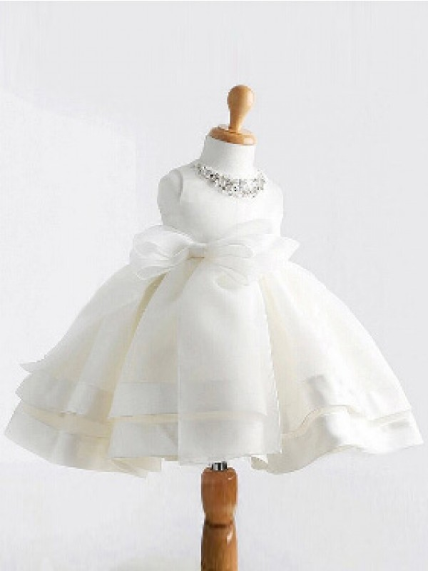 Ivory Satin Jewel Ball Gown Tea-Length Flower Girl Dresses