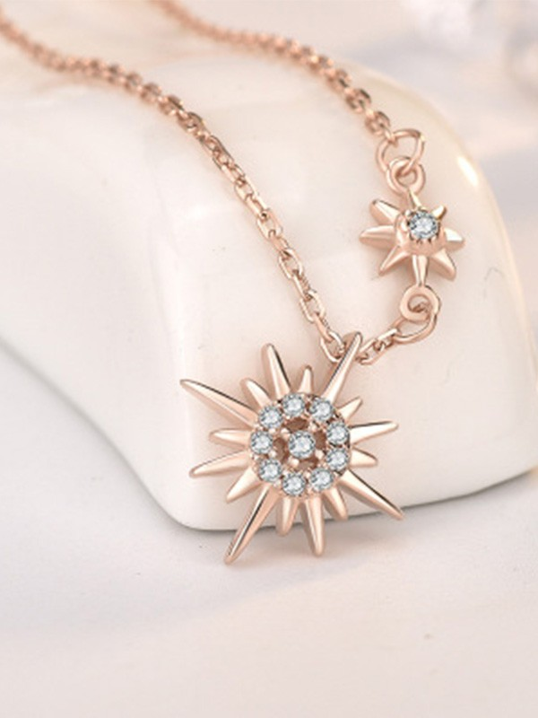 Trending Silver With Sun Ladies Necklaces