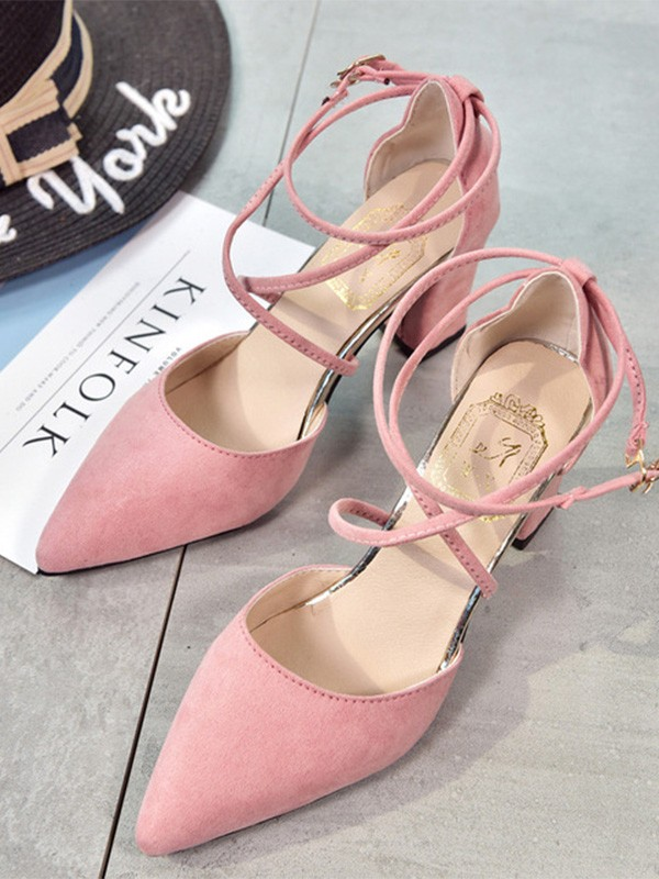 Women Suede Stiletto Heel Closed Toe Sandals