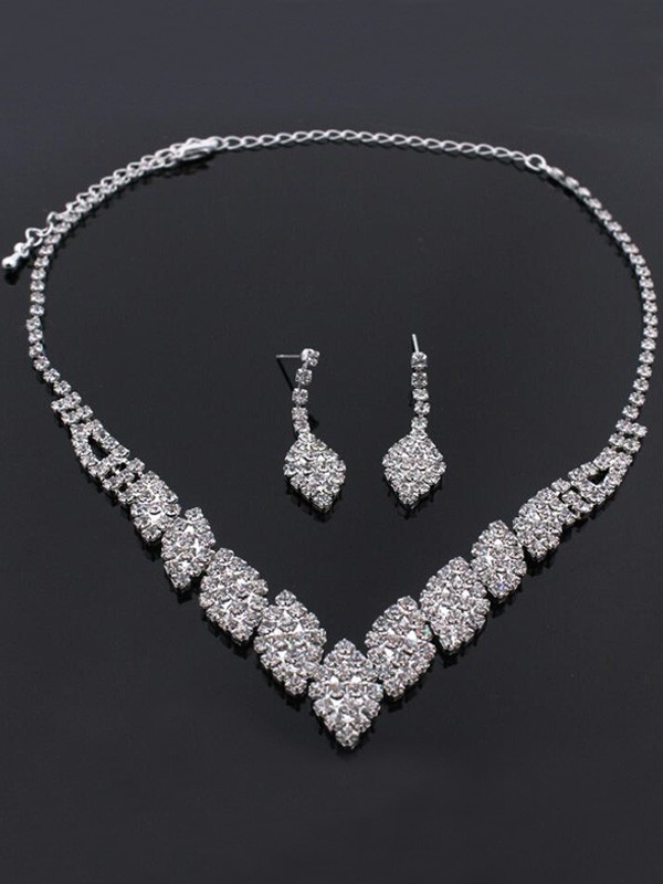 Unique Rhinestone Wedding Bridal Jewelry Set