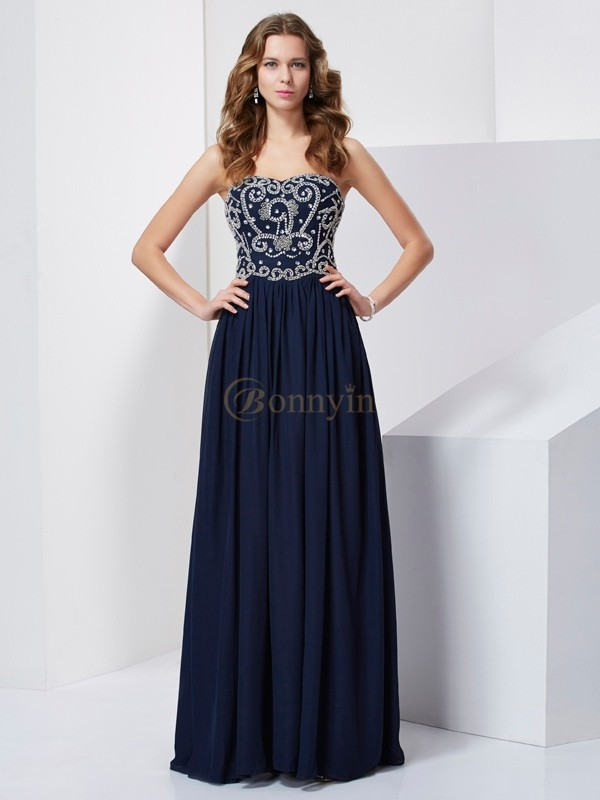 Dark Navy Chiffon Strapless A-Line/Princess Floor-Length Dresses