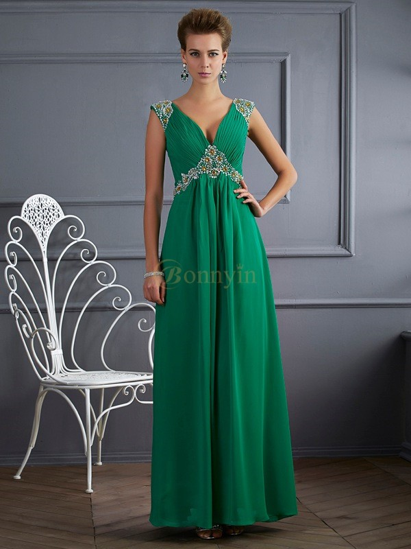 Dark Green Chiffon V-neck A-Line/Princess Ankle-Length Dresses