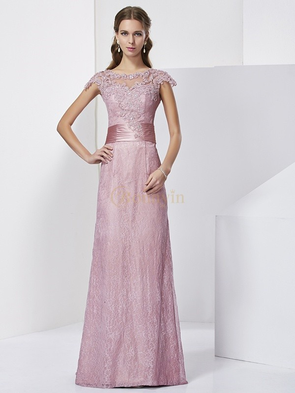 Pearl Pink Elastic Woven Satin High Neck Sheath/Column Floor-Length Mother of the Bride Dresses