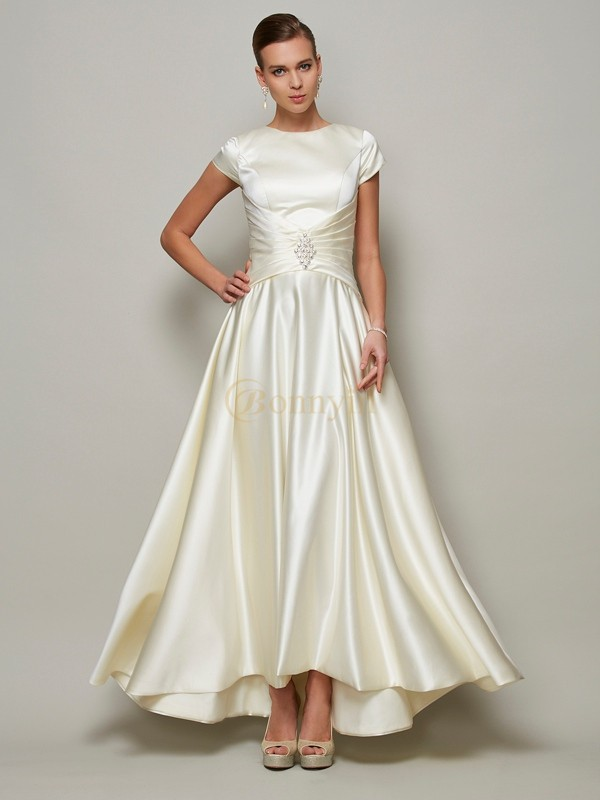 Ivory Satin Scoop A-Line/Princess Floor-Length Mother of the Bride Dresses