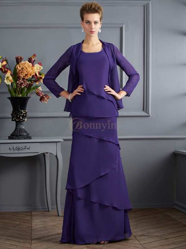 Regency Chiffon Scoop Sheath/Column Floor-Length Mother of the Bride Dresses
