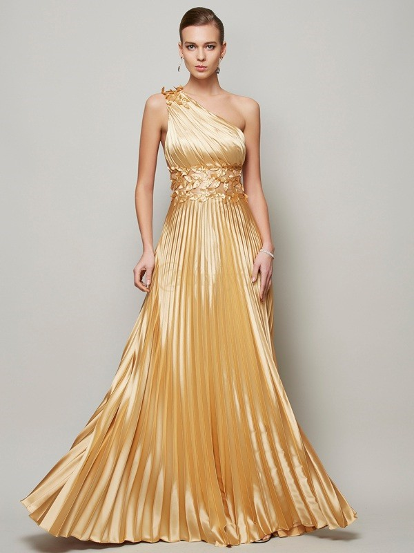 Gold Elastic Woven Satin One-Shoulder A-Line/Princess Floor-Length Dresses