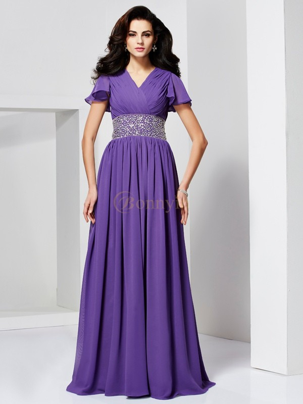Regency Chiffon V-neck A-Line/Princess Floor-Length Dresses