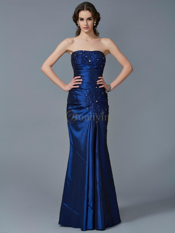 Royal Blue Taffeta Strapless Trumpet/Mermaid Floor-Length Dresses